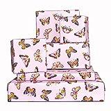 Central 23-6 hojas de papel de regalo - Mariposas moradas - Papel de regalo para niñas y mujeres - Papel de regalo de cumpleaños - Reciclable - Fabricado en el Reino Unido