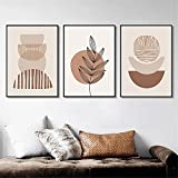 Tono de la tierra cartel abstracto e impresión lienzo pintura geometría Beige Color neutro Boho cuadro de pared sala de estar decoración del hogar
