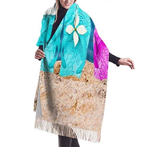 Bufanda de color personalizada Sombrero de Navidad en chanclas en la arena...