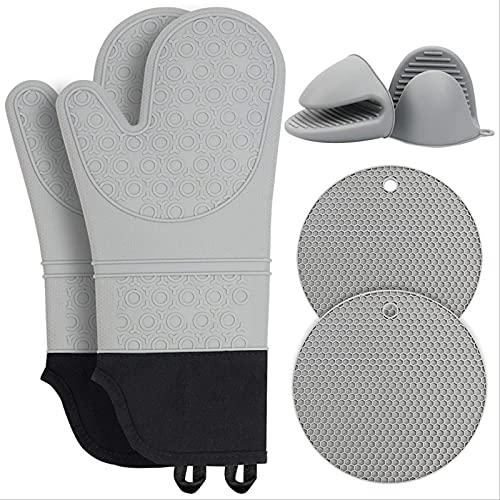 Baking Gloves, Heat Insulation Gloves, Round Heat Insulation Pad, Thick Silicone Microwave Oven Heat Insulation Hand Clip, 6-piece Set light grey