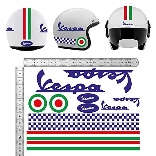 KIT PEGATINAS CASCO VESPA AZUL ITALIA VINILO VINYL MOTOCICLETAS, BICICLETA, MONOPATÍN