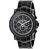 Mens Black Diamond Watch by LUXURMAN 3ct Chronograph Oversized