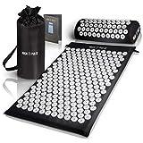 High Pulse® Akupressur Set + 5 Ringe + Poster – Akupressurmatte & Kissen stimuliert die Blutzirkulation und löst Verspannungen (Schwarz)