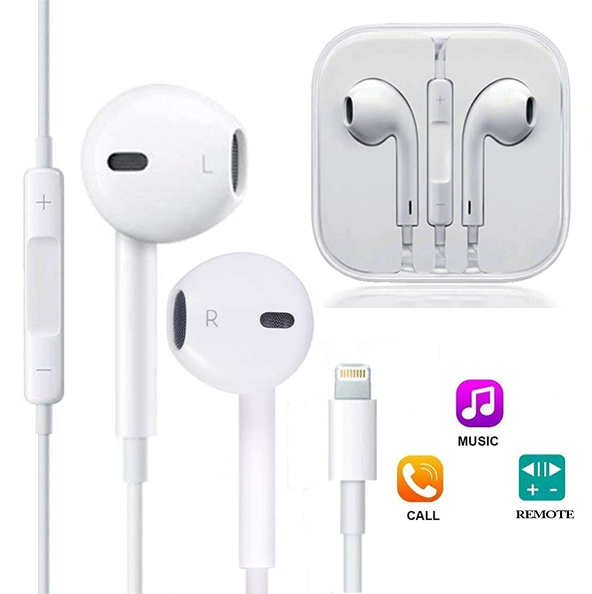 ZestyChef Earbuds, Microphone Earphones Stereo Headphones Noise Isolating Headset Compatible with iPhone 7/7 Plus/8/8 Plus/X/XS/XS Max/XR Earphones