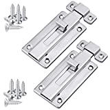 Ruisita 2 Pack Stainless Steel Door Latches Door Bolts Sliding Bolts Surface Mounted Slide Bolt for Indoor and Outdoor, 4 Inches