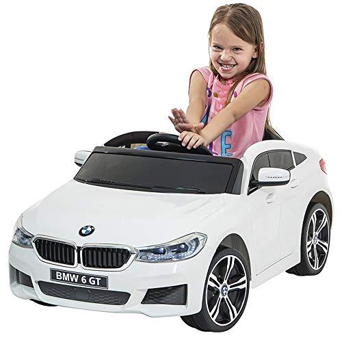 Auto Elettrica Bambini 6 GT 12V con Sedile in Pelle Fari Anteriori e Posteriori Funzionanti a LED Lettore MP3 USB SD e Telecomando Controllo a Distanza Colore Bianco