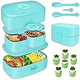 Bento Box Brotdose mit Fächern,kinder Lunchbox Auslaufsichere Jausenbox für Kindergarten Schule,Snackbox Brotbox,GRATIS 6 Stück Gemüse Ausstechformen Set