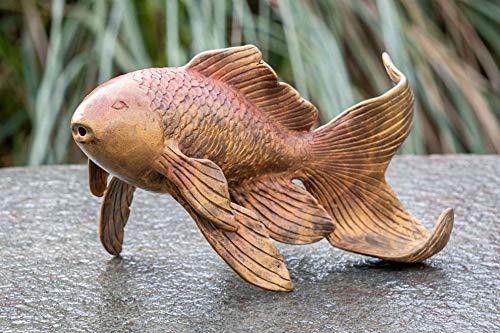 IDYL Escultura de bronce de peces de colores   11 x 8 x 18 cm   Figura de pez de bronce hecha a mano   Escultura de jardín o estanque   Artesanía de alta calidad   Resistente a la intemperie