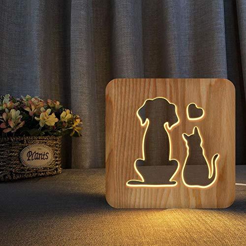 Lámpara de madera 3D Usb Lindo Gato Perro Pareja Animal Mesita de...