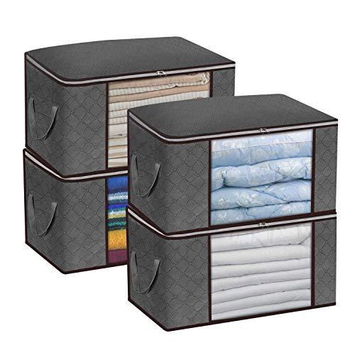 Bolsas de almacenamiento grandes, organizadores de almacenamiento plegables con mango reforzado, tela gruesa ecológica para edredones, ropa, ropa de cama, mantas, con doble...