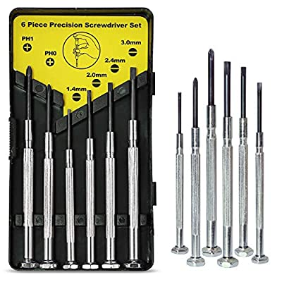 6PCS Mini Screwdriver Set with Case, Precision Screwdriver Kit with 6 Different Size Flathead and Phillips Screwdrivers, Perfect mini Screwdriver Bits for Jewelry, Watch, Eyeglass Repair. by keama
