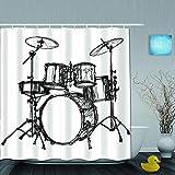 VICAFUCI Imperméable Rideau de Douche,Kit de Batterie de Musique évolutive Rock Jazz Roll Design de Dessin de cymbale,ImperméableSalle de Bain avec Crochets,180 x 180 cm