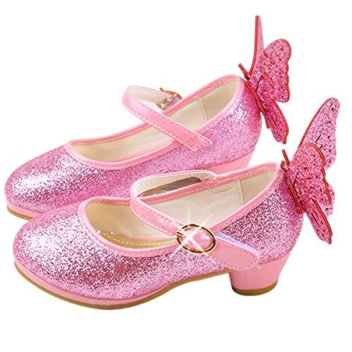 Monissy Princesse Cindrillon Chaussures de Danse à Talons Hauts Obtusion Couleur Unie Grand Papillon Vair Brillant Velcro Déguisement Soirée Noël Mariage Automne Hiver