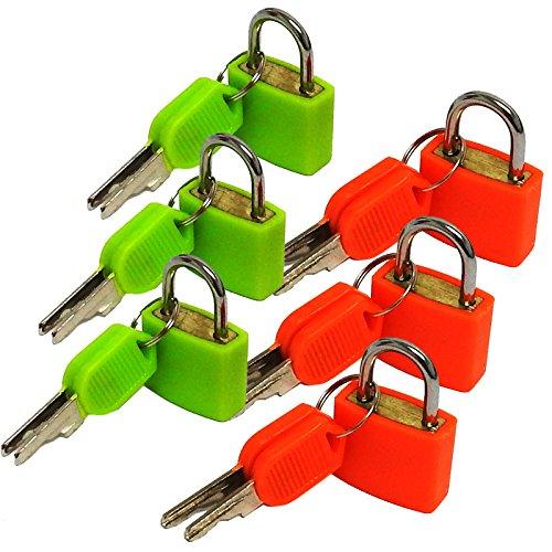 Sure Travel Farbige Mini-Vorhängeschlösser für Koffer, Gepäck, sicher, 2er-Pack (6Schlösser)