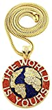 GWOOD The World is Yours Metal Pendant with 36 Inch Long Franco Necklace (Gold Color with RED)