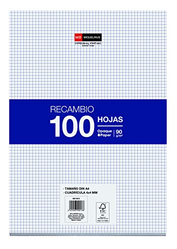 Miquelrius Refill 100 Sheets, 4 mm Grid, A4 Size, 4 Drills, 90 gr Paper Without Drills A4