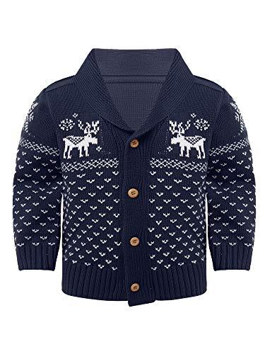 inhzoy Kleinkinder Baby Mädchen Jungen Weihnachten Jacke Pullover Umlegekragen Strickjacke Langram Strickte Cardigan Sweatshirt Gr.80-110 Navy Blau 80-86