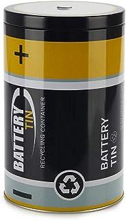 Balvi Contenedor Pilas gastadas Battery Tin Color Negro para Reciclar y Ayudar a Mantener el medioambiente Lata 19x12x12 cm