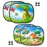 2 Sets parasoles Coche Infantil Ventana 44x36cm Lateral Accesorios parabrisa 4 Pantallas protección Solar para ventanillas Trasero Auto autobús 2 Motivos elegibles.