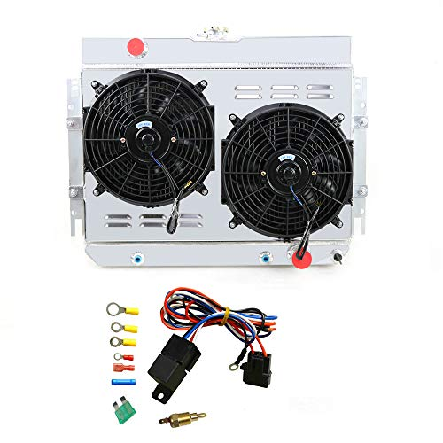 """OzCoolingParts 3 Row Core Full Aluminum Radiator + 2 x 12"""" Fan w/Louver Shroud + Thermostat Kit for 1963-1968 64 65 66 67 Chevy Bel-Air/Impala/Biscayne/Caprice, Many Chevy GM Cars"""