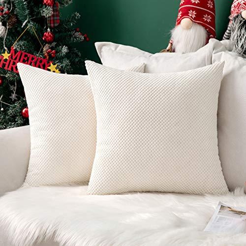 MIULEE Navidad 2 Piezas Fundas de Cojines Diseño Granulado Fundas de Almohada con Cremallera Invisible Protectores Poliéster Modernos Decorativa para Cama Sofa Dormitorio Hogar 40 x 40cm Blanco