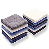 Kyapoo Baby Washcloths 12 Pack 12x12 Inches Microfiber Coral Fleece Extra Absorbent and So...