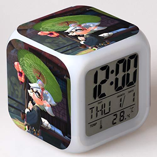 Equipo Lindo Reloj Despertador Digital Reloj Despertador Iluminado Para Niños 7 Colores Led Luz De Noche Reloj Despertador Para Niños Los Mejores Regalos De Cumpleaños / Navidad Para Niños(8*8*8cm) 15
