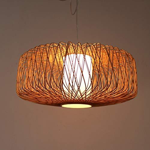 Lámpara colgante de bambú Lámpara de jaula de pájaros china hecha a mano Lámparas retro de arte de bambú y linternas de tela de bambú Lámpara de bambú