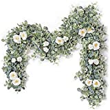 Eucalyptus Garland with 9 White Rose- 6.6 Feet Artificial Floral Vines for Wedding- Table Runner- Doorways Decoration- Indoor Outdoor Backdrop Wall Décor