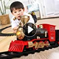 Temi Electric Classical Train Sets with Steam Locomotive Engine, Cargo Car and Tracks, Battery Operated Playset Toy w/ Smoke, Light and Sounds, Perfect for Boys & Girls 3 Years and up by TEMI