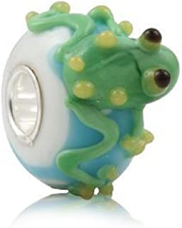 Frog Murano Glass 3D Bead 925 Sterling Silver Core Bead Fits European Brand Charms
