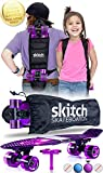 SKITCH Complete Skateboard Gift Set for Beginner Girls and Boys of All Ages with 22 Inch Mini Cruiser Board + All Accessories (Purple Galaxy)
