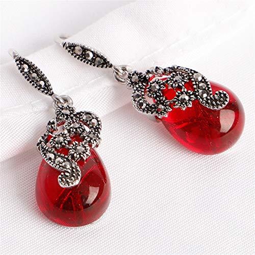 TLBB Vintage 925 Pendientes de Plata Forma de Gota de Agua Esmeralda Rubí Piedras Gemstones Adornos de joyería Mujeres Pendientes Boda (Gem Color : Red)