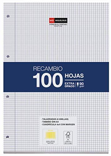 Miquelrius Nachfüllpackung, 100 Blatt, kariert 4 mm und Rand. A4-Format, 4 Löcher, Papier 90 g.