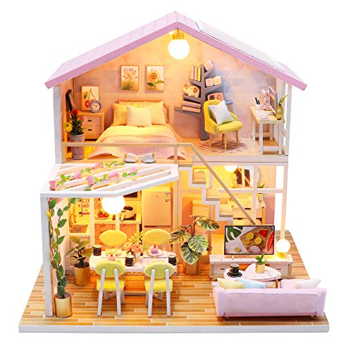 Spilay DIY Dollhouse Miniature with Wooden Furniture,Handmade Duplex Loft Home Craft Model Mini Kit with Dust Cover & Music Box,1:24 3D Creative Doll House Toy for Adult Teenager Gift (Sweet Time