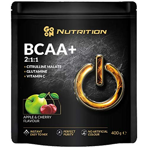 Go On Nutrition Amino Acid BCAA 2:1:1 Package of 1 x 400g Instant with Citrulline Glutamine Vitamin C and Leucine Valine Isoleucine - No Artificial Colors (Apple Cherry)