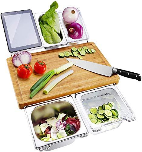 NMSLQ Tabla de Cortar con Bandeja, Tabla de Cortar de bambú Extensible y Tabla de Servir con 4 recipientes, Tabla de Cortar para Preparar Alimentos, Carne, Verduras y Pan