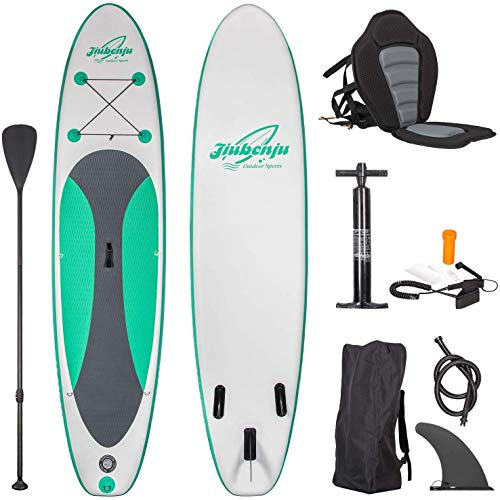"Jiubenju All Around Inflatable Stand Up Paddle Board and Kayak Seat Set, 10'6"" Long x 30"" Wide x 6"" Thick Non-Slip Deck, Includes Premium SUP Accessories Aluminum Oar Pump Leash Carry Bag and More"