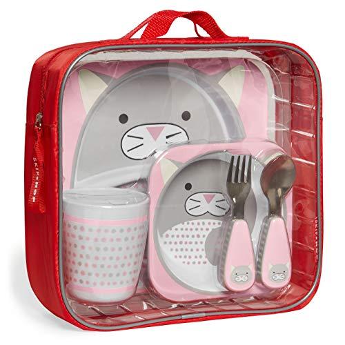 Skip Hop Toddler Mealtime Gift Set: Matching Plate, Bowl, Tumbler & Utensils, Winter Cat