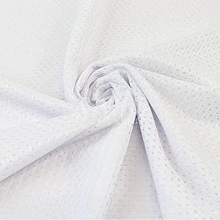 White Football Mesh Knit Fabric By The Yard - 1 Yard
