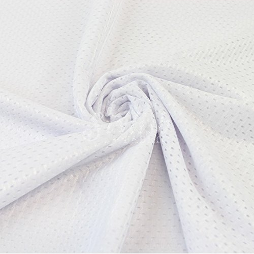 White Football Mesh Knit Fabric by The Yard - 1 Yard