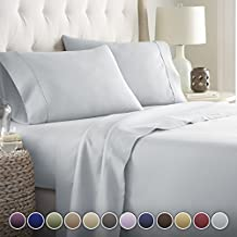 HC COLLECTION-Hotel Luxury Bed Sheets Set 1800 Series Platinum Collection, 4pc Deep Pocket,Wrinkle & Fade Resistant, Hypoallergenic (King,Artic Ice Blue)