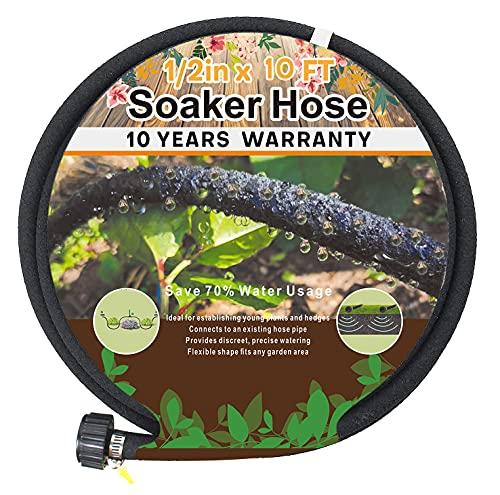 1/2'' Soaker Hose 10 Ft 15Ft, Soaker Hoses for Garden 100 Ft, Garden Soaker Hose 25 Ft 50 Ft Drip Hoses for Garden Drip Garden Hose Irrigation System (10 feet)