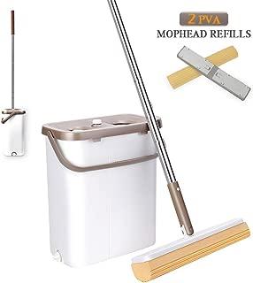 Sponge Mop, PVA Sponge Mop, Squeeze Mop and Bucket, 180°Degree Swivel Head, Hand-Free Wringing Floor Cleaning Mop, Wet or Dry Usage on Hardwood, Laminate, Tile, Marble.