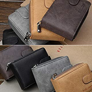 Extaum Men Wallet Baellerry PU Leather Solid Short Foldable Large Capacity Multifunction Simple Business Money Clip