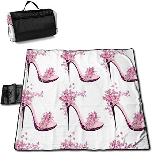 N/A grote waterdichte outdoor picknick deken hoge hak versierd vlinders zanddichte strand Mat Tote voor camping wandelen gras reizen