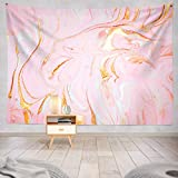Soopat Polyester Glitter Tapestry Gold Glitter Paint Tapestry Marble Gold Pastel Watercolor Ink Glitter Galaxy Liquid Flow Pink and Gold Wall Hanging Tapestry for Girls 60X50 inch