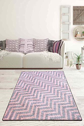 Milas moderner geometrischer Wohnzimmerteppich Rutschfester Schlafzimmerteppich Kurzflor waschbar grau (Grau, 160 x 230 cm)