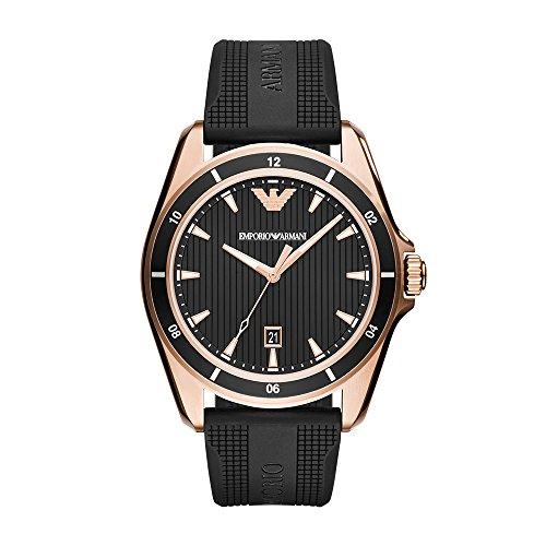 Emporio Armani Men's Sport Stainless Steel Quartz Watch with Rubber Strap, Black, 21 (Model: AR11101)
