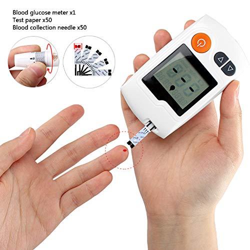 FJLOVE Blutzucker Messsystem mit 50 Teststreifen und 50 Lanzetten,Stimme Übertragung Eigenschaften,Einfache Selbstkontrolle bei Diabetes mmol/L